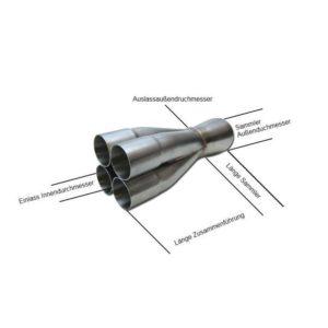 4 in 1 Edelstahl Kollektor für Abgasanlage 57 auf 114,3mm