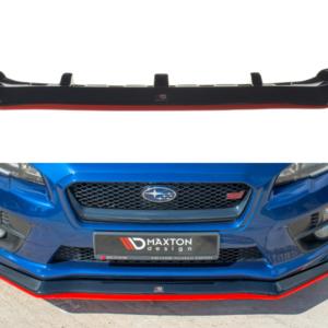 SPLITTER / FRONTANSATZ V.1 SUBARU  WRX STI – tak Carbon Look + Red