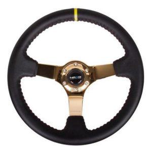 NRG Sport Lenkrad  350mm Leder / Gold