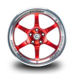 WestSchweizCustoms_Cosmis_XT-006R - 18x9.5 +10mm 5x114.3 - Black Diamond Lip Red Milled Spokes