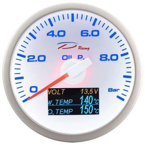DEPO RACING 4in1 LADEDRUCK/ÖLDRUCK/ÖLTEMPERATUR/BATERIE ANZEIGE BOOST GAUGE 60mm